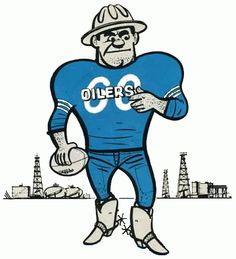Houston Oilers Primary Logo - Oil man holding a football in front of an oil field Football Cards, Nfl Football, Football Stuff, School Football, Chicago Bears, Houston Oilers, Houston Nfl, Giants Stadium, Baltimore Colts