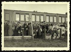 Westerbork, Holland, Jews boarding a deportation train to Auschwitz.