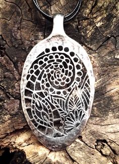 Solid silver table spoon pendant. Hand pierced. Inspired with Indian henna tattoo.