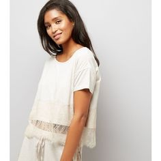New Look Cream Lace Trim Jersey Pyjama T-Shirt (€14) ❤ liked on Polyvore featuring tops, t-shirts, oatmeal, white tee, white t shirt, white top, white jersey and jersey top