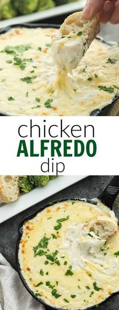 This Cheesy Chicken Alfredo Dip is perfect for game day, movie night, an appetiz. This Cheesy Chicken Alfredo Dip is perfect for game day, movie night, an appetizer or a casual dinn Yummy Appetizers, Appetizer Recipes, Dinner Recipes, Party Appetizers, Vegetable Appetizers, Game Day Recipes, Avacado Appetizers, Mexican Appetizers, Chicken Appetizers
