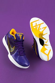 """It's the most wonderful NBA day of the year. Park it on the couch for Bucks-Sixers, Clippers-Lakers, and more, and get in the spirit of the basketball season with the Undefeated x Nike Kobe 4 Protro """"Lakers. Zapatillas Nike Basketball, Basketball Shoes Kobe, Nike Basketball Shorts, Basketball Season, Basketball Outfits, Basketball Art, On Shoes, Nike Shoes, Nike Sneakers"""