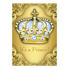 Fancy Prince Baby Shower Baby Blue Gold 5x7 Paper Invitation Card