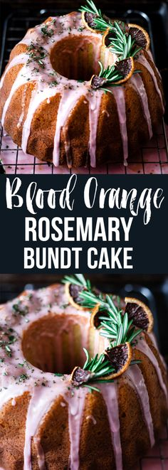 Blood orange rosemary bundt cake with buttermilk and poppy seeds. A healing winter cake. #cake #bundt #dessert #breakfast via @saltedmint1