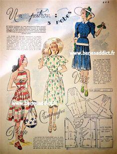 """10 Patrons GRATUITS couture Vintage 1948 + """"Le Petit Echo de la Mode"""" Barbie Vintage, Vintage Couture, Vintage Diy, Vintage Wardrobe, Vintage Outfits, Vintage Fashion, 1940s Fashion, Barbie Patterns, Vintage Sewing Patterns"""