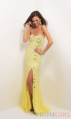 Long Beaded Strapless Sweetheart Dress at PromGirl.com