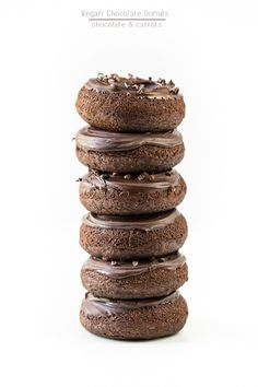 Vegan Chocolate Donuts | chocolateandcarrots.com - Make with gluten free flour and a low carb sweetener and my Homemade  Chocolate Chips!