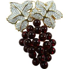 #Vintage #WineWednesday at  www.rubylane.com - Huge Signed Swarovski (Swan Logo) Brooch with Glass Grapes and Pave' Rhinestones