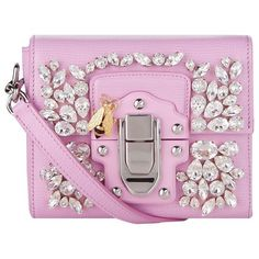 Dolce & Gabbana Mini Lucia Embellished Leather Shoulder Bag ($2,145) ❤ liked on Polyvore featuring bags, handbags, shoulder bags, сумки, leather purses, mini handbags, mini shoulder bag, leather shoulder handbags and evening purses