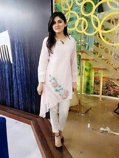 Beautiful asymetric silk kurti with beautiful embroidery. Sleeves Designs For Dresses, Dress Neck Designs, Stylish Dress Designs, Stylish Dresses, Salwar Designs, Kurta Designs Women, Kurti Designs Party Wear, Pakistani Dresses Casual, Pakistani Dress Design