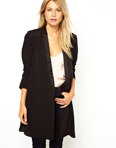 $64.52 Jacket by ASOS Collection Made from an easy-care poly fabric. Open front design. Satin lapel. Longline hem. Regular fit.