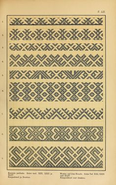 Trachten und Muster der Mordvinen Costumes and patterns of Mordvinians of Folk Embroidery, Cross Stitch Embroidery, Embroidery Patterns, Inkle Weaving, Card Weaving, Knitting Charts, Knitting Stitches, Pattern Books, Pattern Art