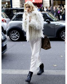 Model style: Abbey Lee Kershaw Cream Furry Coat Dress
