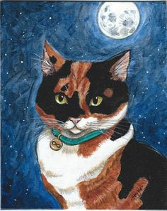 Calico Cat Under Full Moon Sky stars Original Hand Painted by STRIKE Infinity