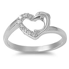 Rhodium Plated Sterling Silver Wedding & Engagement Ring Clear CZ Heart & Dolphin ring 9MM ( Size 5 to 9)