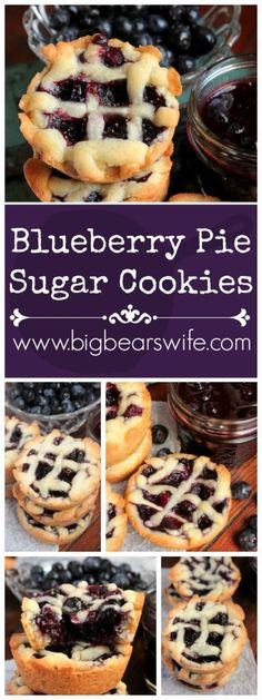 These little Blueberry Pie Sugar Cookies are filled with an amazing but easy homemade blueberry pie filling! While they look like mini pies, they're actually homemade sugar cookies! Blueberry Pie…More Mini Desserts, Cookie Desserts, Cookie Recipes, Plated Desserts, Best Dessert Recipes, Sweet Recipes, Delicious Desserts, Yummy Food, Homemade Blueberry Pie