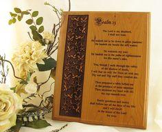 Psalm 23 Laser Engraved Alder Wood Plaque 8 by LaserCraftEngraving