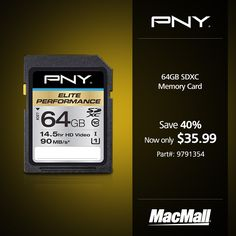 Save 40% on a #PNY 64GB Elite Performance SDXC memory card at MacMall. #DailyDeal