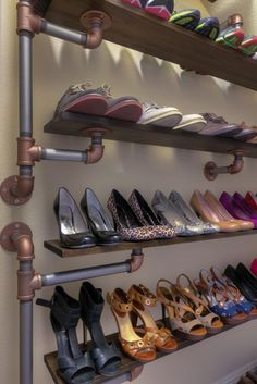 Iron Pipe Shelves! Probably wouldn't use it for shoes but it looks good enough to not be hidden!