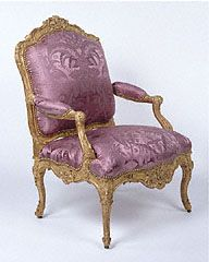 Unknown   French, Paris, about 1730 - 1735   Gilded beechwood; brass casters; modern silk upholstery   94.DA.10