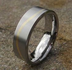 Wavy Gold Inlay Titanium Wedding Ring | LOVE2HAVE UK! Titanium Wedding Rings, Gold Wedding Rings, Wire Brushes, Wave Pattern, Jewelry Rings, Jewellery, Precious Metals, Rings For Men, Jewelry Making