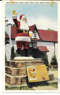 Christmas Postcard Greeting Santa Claus Statue Indiana Chrome Divided 1215 #Christmas
