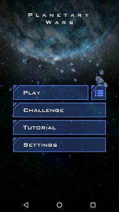 Planetary wars on Android main menu