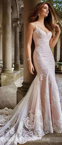 Mermaid Wedding Dresses Blush Wedding Dress by David Tutera for Mon Cheri Spring 2017 - Elegant form-fitted beaded lace wedding dress with hand-beaded spaghetti straps, embroidered lace overskirt, scalloped hem, and chapel length train. Spring 2017 Wedding Dresses, Dream Wedding Dresses, Wedding Gowns, Lace Wedding, Mermaid Wedding, Spring Wedding, Diy Wedding, Blush Pink Wedding Dress, Wedding Lounge