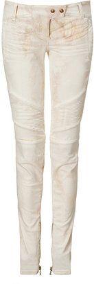 ShopStyle: Balmain White Tie-Dye Low Rise Jeans