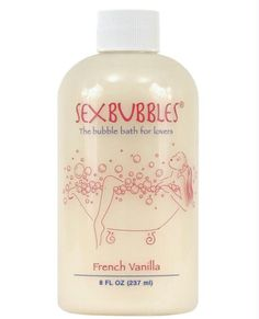 """Sex Bubbles - 8 oz  $10.95  """"Imagine the perfect evening . . . candles, wine, sexy lingerie, bubble bath. If you could bottle it up and uncork it whenever you please to relive your most sensual nights, it would be called Sex Bubbles. This French Vanilla scented bubble bath is specially formulated to make you feel sexy and relaxed for special occasions or for everyday use. Just put a few drops under hot running water and watch the sexy scene unfold!"""" French Vanilla, Fresh Rain, Chocolate…"""
