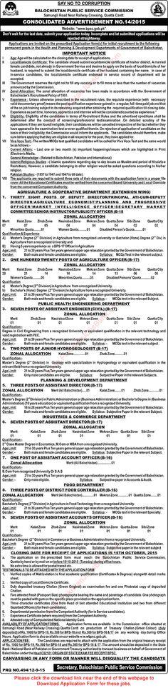 Jobs in Pakistan: BPSC Jobs September 2015 Application Form Download...