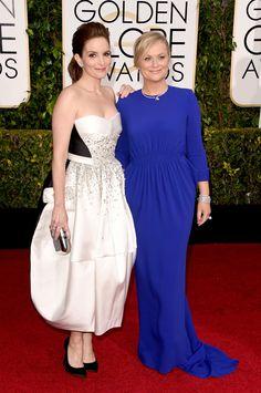 Tina Fey in Antonio Berardi and Amy Poehler in Stella McCartney at the 2015 Golden Globes. (Photo: Jason Merritt/Getty Images)