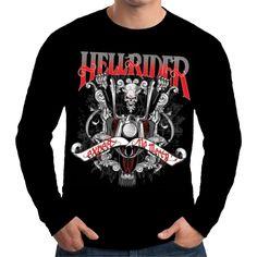 Velocitee Mens Long Sleeve T Shirt Hellrider Bobber Biker Outlaw Chopper W15900 #Velocitee