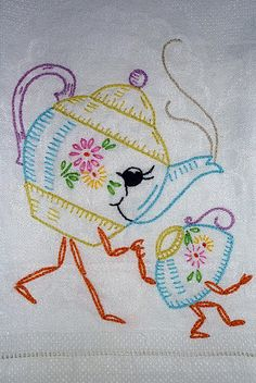 Teapot and Teacup Embroidery
