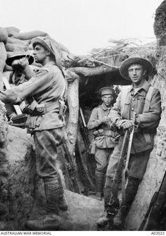 Australian troops in the Lone Pine trenches,Gallipoli.    •Australian War Memorial•