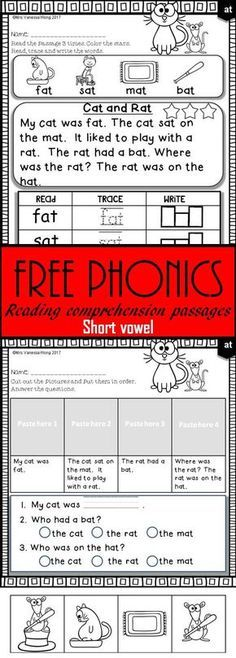 Free phonics activities and passages for vocabulary, fluency and reading comprehension, and story sequence. (Short vowel, kindergarten and first grade) Phonics Reading, Kindergarten Reading, Teaching Reading, Guided Reading, Reading Tutoring, Kindergarten Freebies, Teaching Ideas, Phonics Books, Phonics Activities