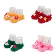 Xmas Gift Baby Wool Unisex Flower Crochet Knit Walker Shoes Boot Slippers 0-12M #Handmade #WalkingShoes