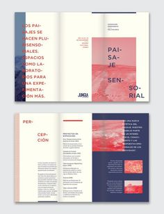 Layout design / Paisaje sensorial - exhibition by Ursula Villalba, via Behance Editorial Design Layouts, Magazine Layout Design, Book Design Layout, Print Layout, Graphic Design Layouts, Graphic Design Inspiration, Graphic Design Workspace, Grid Graphic Design, Editorial Design Magazine