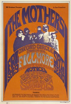 The Mothers of Invention Concert Poster, Fillmore Auditorium, San Francisco, California, 1966... early Mothers Era poster