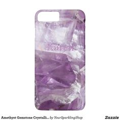 Amethyst Gemstone Crystalline Quartz Purple Case with custom Name Karen, add your name