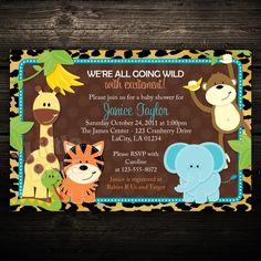 leopard print invitation with safari animals for boy | Printable Baby Shower Invitation: Leopard Print Jungle Animals ...