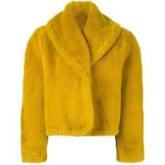 Pre-owned Jean Paul Gaultier Vintage faux fur jacket ($1,210) ❤ liked on Polyvore featuring outerwear, jackets, coats, fur, coat/jacket, yellow, shawl collar jacket, vintage jackets, vintage faux fur jacket and faux fur jacket