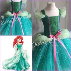 A beautiful, sparkly tutu dress inspired by Ariel's Ballgown.  Little Mermaid Tutu Dress.  Beautiful & lovingly handmade.  All characters and colours available Price varies on size, starting from £25.  Please message us for more info.  Find us on Facebook www.facebook.com/DiddyDarlings1 or our website www.diddydarlings.co.uk