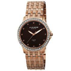 Akribos XXIV Women's AK620RG Lady Diamond Swiss Quartz Diamond and Crystal Rose-tone Stainless Steel Bracelet Watch | WatchCorridor