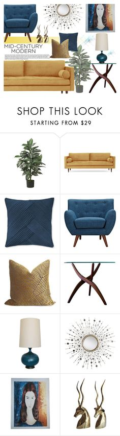 """Mid century home!"" by nvoyce ❤ liked on Polyvore featuring interior, interiors, interior design, home, home decor, interior decorating, Nearly Natural, Joybird, Williams-Sonoma and Ethan Allen"