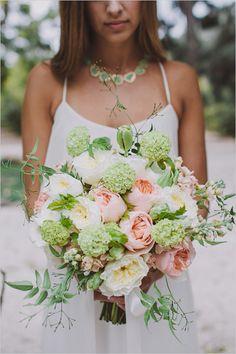 peach and green wedding bouquet by Stella Bloom Designs