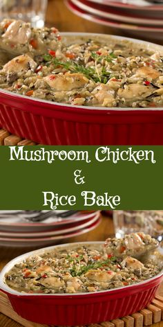 Our Mushroom Chicken & Rice Bake is a cozy casserole recipe that the whole gang will want all winter long! Healthy Pasta Salad, Healthy Pastas, Healthy Dishes, Healthy Casserole Recipes, Healthy Recipes, Chicken Rice Bake, Chicken Recipes, Chicken Meals, Mushroom Chicken