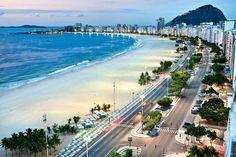 Copacabana - famous 4 km beach in Rio de Janeiro, Brazil
