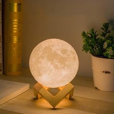 Color Changing Magical Moon Lamp + Wood Stand