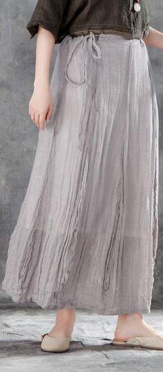 1f8091b2e2af1 Elegant linen skirt Women Casual Drawstring Ankle Length Lining Skirts  Linen Dresses